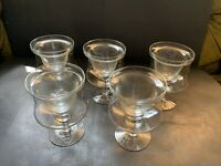 Set of 5 Glass Crystal Shrimp Cocktail Servers Ice Cups & 5 Liners Large Vintage