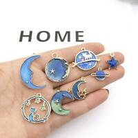 8X Cute Moon/Star/Planet Enamel Charm Pendant For DIY Earrings/Bracelet Craft JT