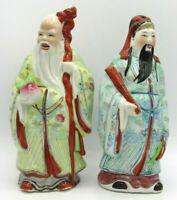 Chinese Gods Fuk & Sau Longevity Immortal Peach & Good Luck Porcelain Figurines