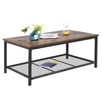 Industrial Coffee Table With Storage Shelf For Living Room Wood Look Accent