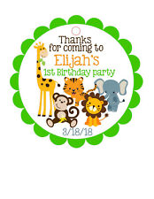 12 Personalized Birthday party favor tags- Jungle / Safari animals. W/ your info