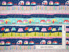 Camper RV Trailer Tent Stripe Cotton Fabric Timeless Treasures C6279 By The Yard