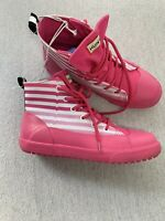 Hunter Womens 5 Pink Lace Up Wellingtons Ankle Boots Booties Rain Rubber GUC