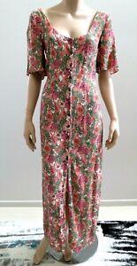 TOPSHOP Floral Maxi Vintage Style Boho Long Dress sz 8 XS   .A4