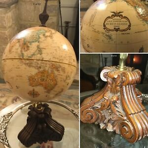RARE REPLOGLE GLOBE ANTIQUE HAND CARVED ACANTHUS WOOD BASE THOMAS BLAKEMORE