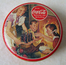 Vtg 1993 Bristol Ware Retro Drink Coca Cola Coke Round Metal Tin Box Container