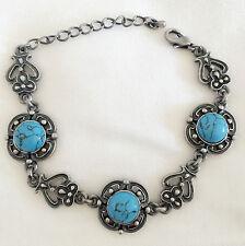 Free Shipping Blue Onyx Blue Topaz Gemstone Silver Jewelry Bracelet 7-8 MQ-1167
