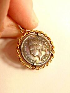 1903 Indian head penny in gold colored pendant setting (no chain)