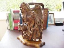 Antica FIGURA CINESE DI legno intagliato-MAN CON GRU/BIRD