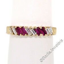 Diamond & Ruby Ribbed Band Ring Sz7 Vintage 18K Yellow Gold 0.75ctw Baguette Cut