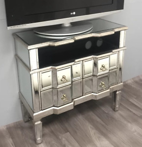 Venetian Mirrored TV Stand Antique French Unit Widescreen Cabinet Large Glass