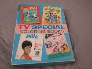 VINTAGE 1968 TV SPECIAL COLORING BOOKS SET OF 4 THE SAALFIELD PUBLISHING CO.