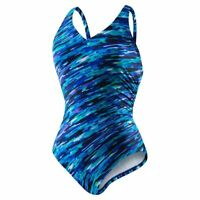 Speedo Blue Multicolor One-Piece V-neck Shirred Swimwear for Women - Size 8