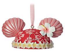 Disney Aulani Mickey Minnie Ear Hat Christmas Ornament Pink Shells Hibiscus