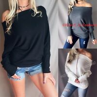 Womens Off Shoulder Multiway Dolman Relaxed Slouchy Soft Waffle Knit Sweater Top