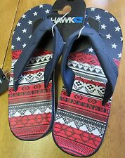 NWT TONY HAWK Red White Blue STAR FLIP FLOPS SANDALS  Big Boy Size Medium 8/9