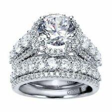 3.50ct Cushion Halo Diamond Engagement Ring Set 14k White Gold