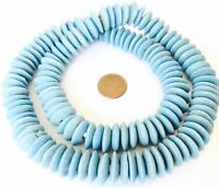 Ghana Authentic Recycled Glass Powder Blue Disk African trade beads -Ghana