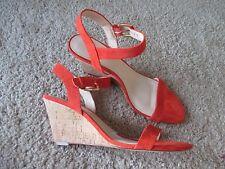 New NINE WEST Women Orange Suede Strap Wedge Sandals Shoes sz 9.5 M