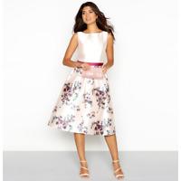 Chi Chi London  floral Print Satin Dress Sleeveless 10 14  Pink/Multi