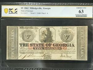 $5 1862 MILLEDGEVILLE GEORGIA CR-GA-5 PLATE A PCGS CHOICE UNC 63 V