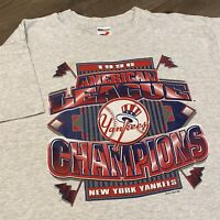 New York Yankees T Shirt Mens Medium Vintage 90s AL Champions MLB Baseball Retro