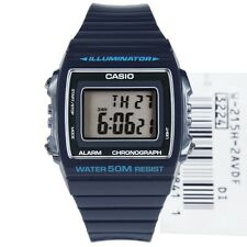 W-215H-2A BLUE 50m Casio Watch Unisex Digital Alarm Chronograph Resin Band New