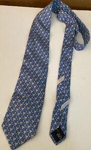 SALVATORE FERRAGAMO Italy Men's Silk Tie Necktie Cute Tiny Elephant Print