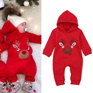 UK Baby Boy Girls Newborn Christmas Deer Fleece Warm Romper Bodysuit Jumpsuit