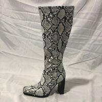 Women Snakeskin Print Mid Calf Knee High Boots Metal Square Toe Block Heel Shoes