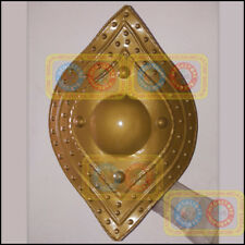 Medieval Tribal Shield Hand Forged Golden Steel Re-enactment Home Office Decor