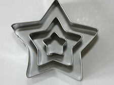 Star Shaped Metal Cutters - Set of 3, Sugarcraft, Biscuit, Cake Decorating