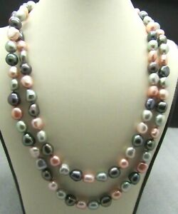"""HONORA PEARLS PINKS GRAYS WHITE IRIDESCENT PEARL STRAND SS .925 NECKLACE 32"""""""