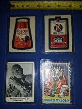 4 Vtg NOVELTY SET CARDS-FEATURE CREATURE-topps WACKY PACKAGE-leaf WHAT'S MY JOB?