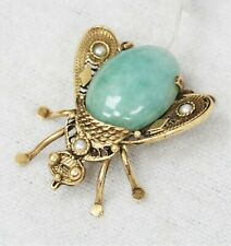 Pin Brooch with Jade & Seed Pearls 14K Yellow Gold Bee Wasp Fly Insect