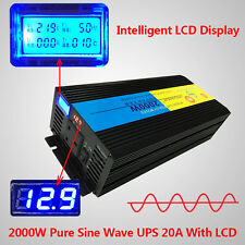 2000W Pure Sine Wave Power Inverter 12V DC to 240V AC LCD/UPS/Charger UK Socket