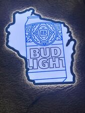 W@W Bud Light Beer Led Lighted Sign Wisconsin Bar Pub Man Cave Summer Fun Drink