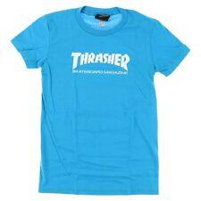 Thrasher Magazine Skate Mag Logo Skateboard *Girls Fit* Shirt Teal Blue Large