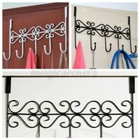 Over The Door 5 Hanger Hook Holder Clothes Coat Towel Hat Metal Hooks Rack