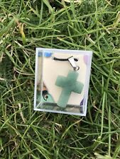 Gemstone Aventurine Green Cross Pendant Necklace NEW