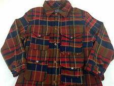 Men's Large Polo by Ralph Lauren Polartec Fleece Jacket Red Plaid Cargo Hunting
