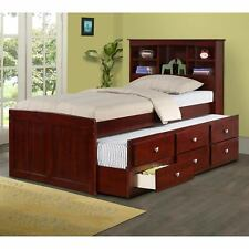 Landon Full Captains Bed with Bookcase Headboard withTwin and Full Mattress