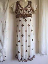 Salwar Kameez Shalwar saree Indian Bollywood Fancy Dress Costume White-brown (s)