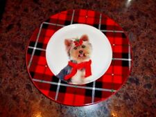 Plate Christmas Yorkie Dog Yorkshire Terrier Holiday Red Plaid Celtic Canines