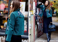 Zara Green Lambskin Leather Embroidered Jacket Size SMALL BNWT
