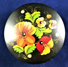 Russian Hohloma Box Wooden Hand Painted Khokhloma Lacquered Vintage Floral Green