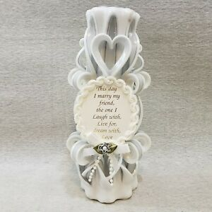 Wedding Candle Sculpted Silver White Pillar Votive Candle Wax Works Heart Toast