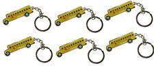 6 Pcs Retro Style New York City NYC Yellow School Bus Keychain Key Chain Ring