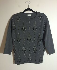 DRIES VAN NOTEN Grey Embellished Embroidered Crystal Bead Wool Sweater Top XS