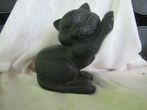 VINTAGE CAST IRON BLACK CAT DOORSTOP 6 INCHES TALL Solid